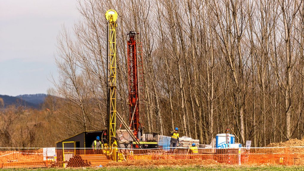 A drilling rig at a mining project site in Serbia