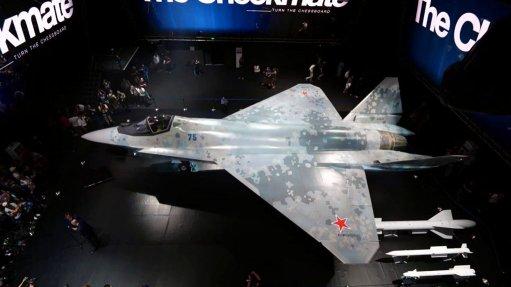An image of a Sukhoi Checkmate displayed at MAKS 2021