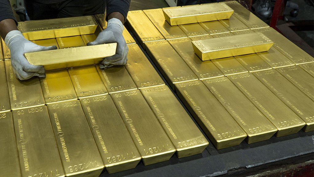 Rand Refinery's Good Delivery Gold Bars laid out