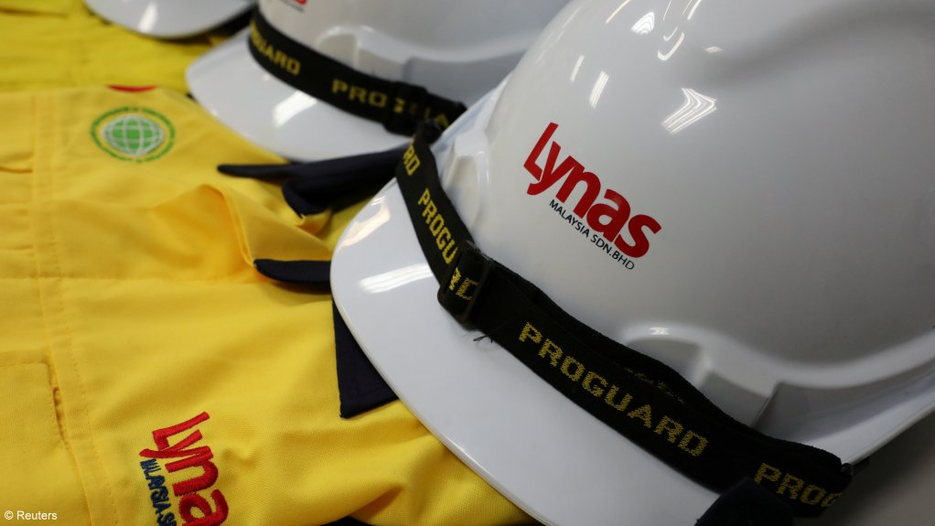 An image showing hard hats with Lynas branding.