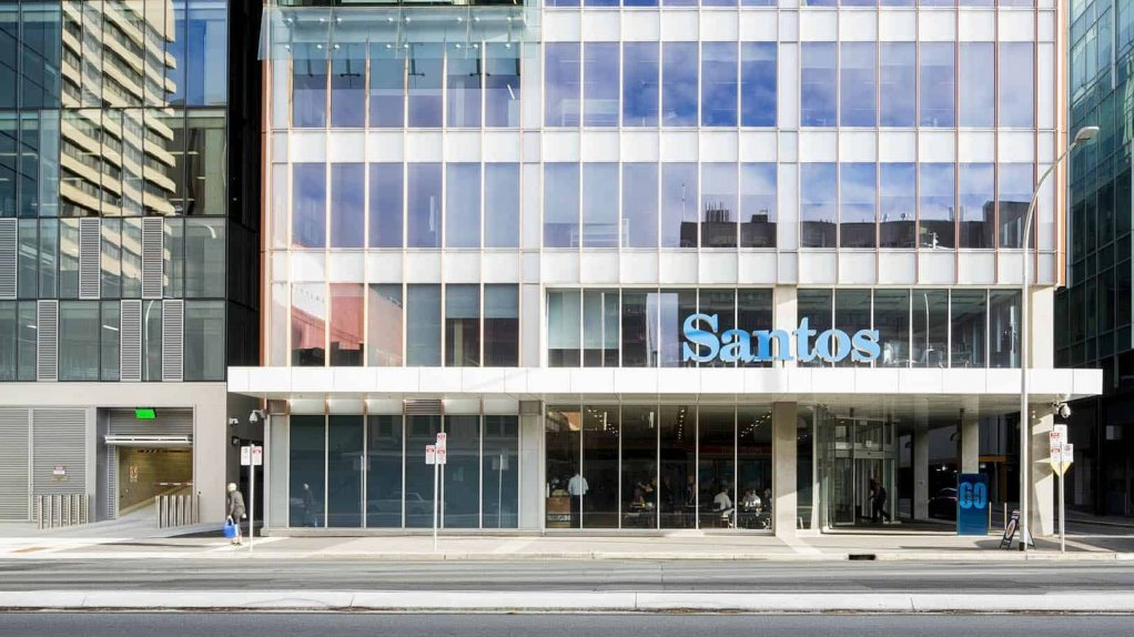 An image of an office building displaying Santos signage.