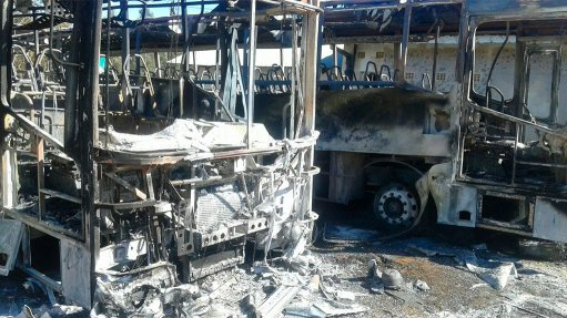 Image of a burnt out bus