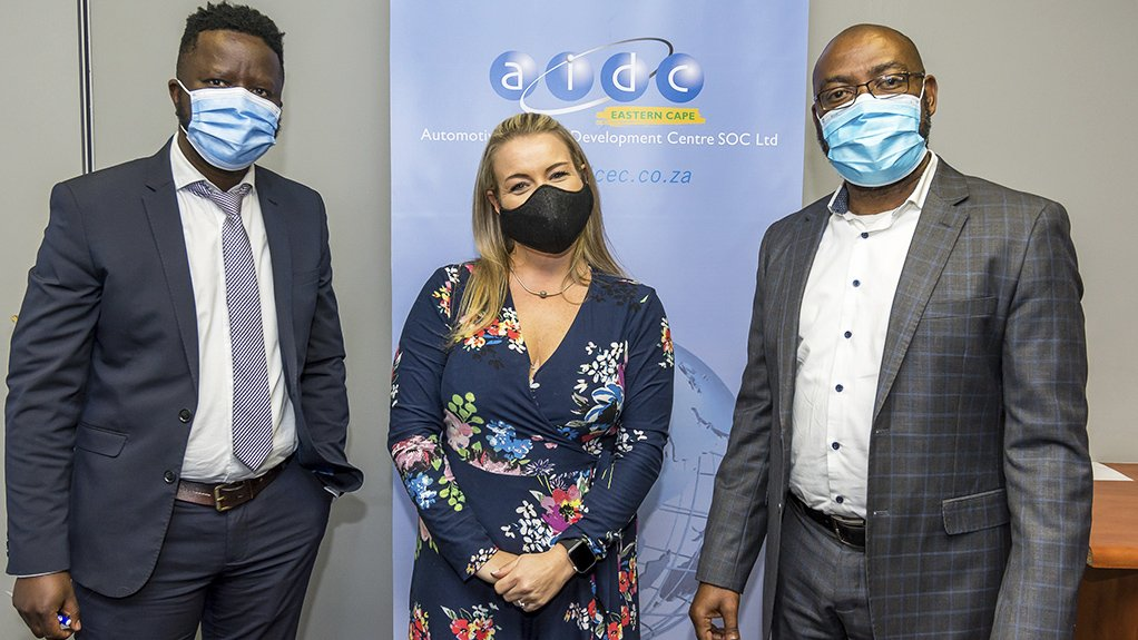 An image of IYF programme manager Masakhane Mlamla, AIDC EC project coordinator Priscilla Fry and AIDC EC CEO Thabo Shenxane