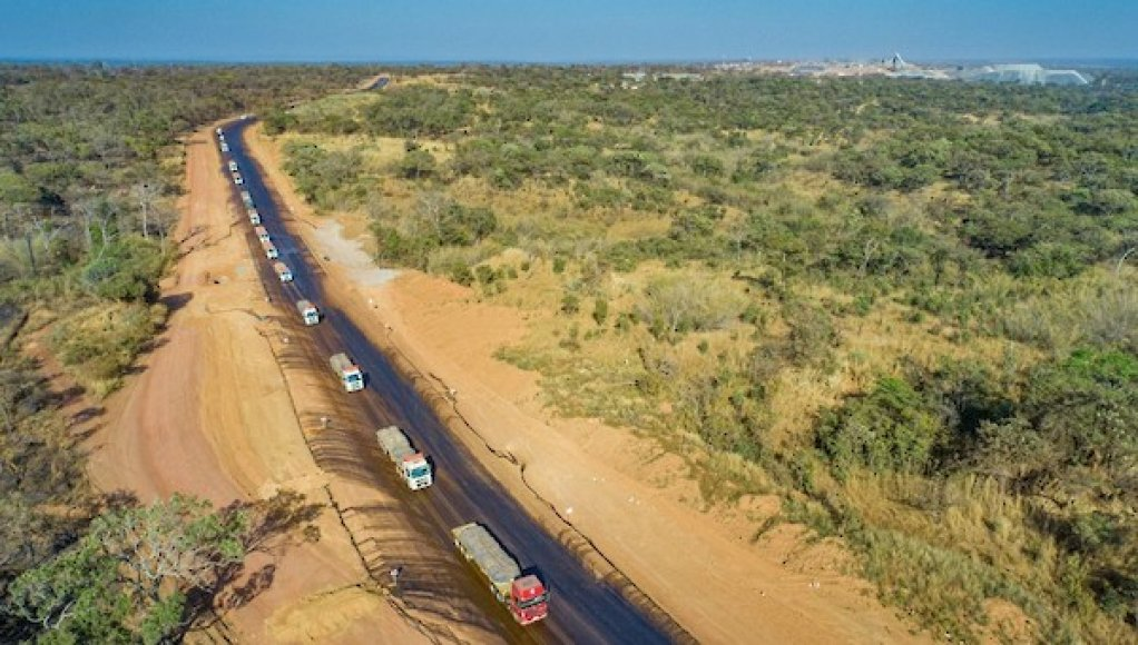 A convoy of transport trucks loaded with Kamoa Copper's concentrate departing the Kamoa-Kakula mine on their way to the port of Durban, South Africa.