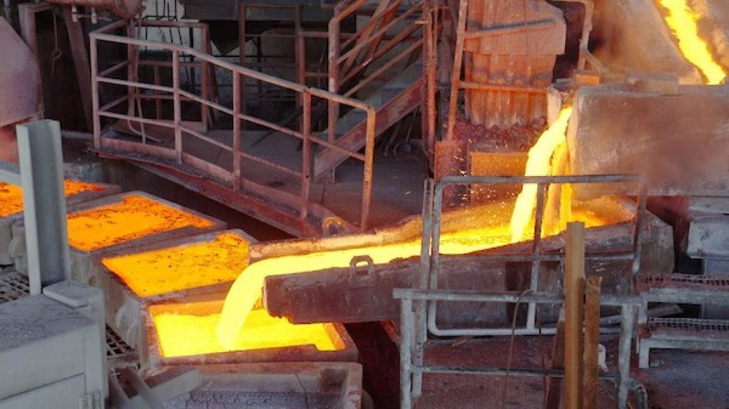 An image showing the pouring of blister ingots at the Lualaba smelter in the Congo.