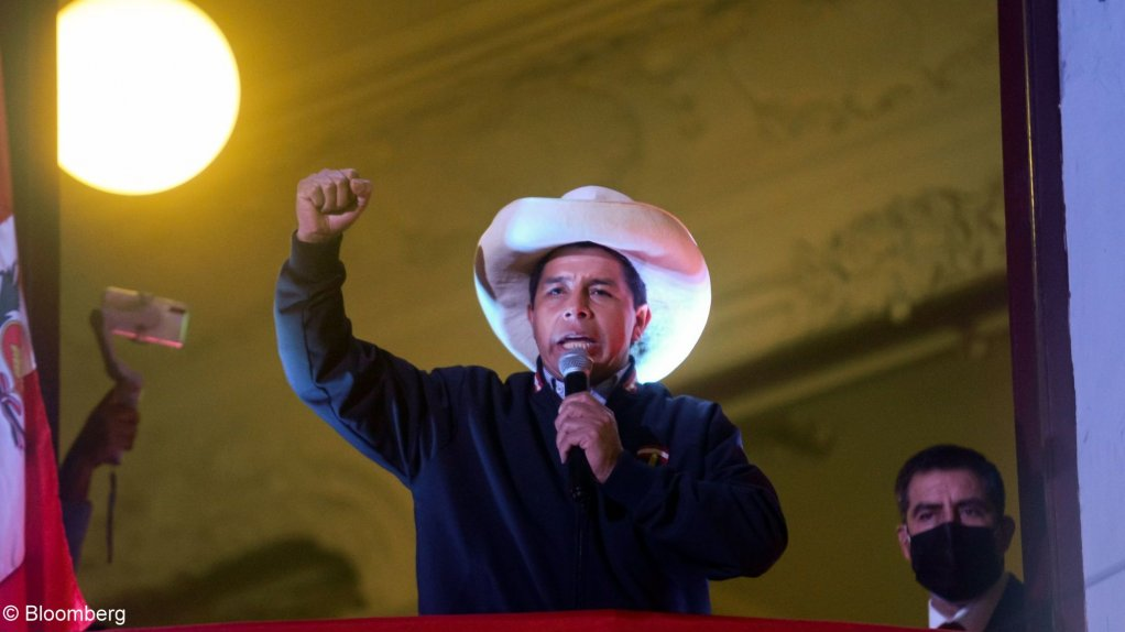 An image of Peru's President Pedro Castillo speaking to supporters.