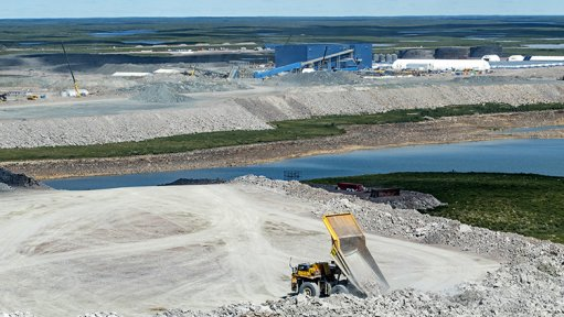 An image of stockpiled material containing diamonds in Canada.