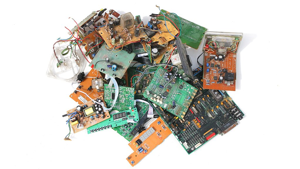 A stock image of electronic waste