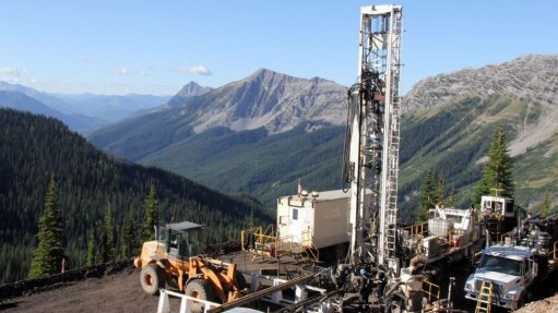 An image of drilling at the Crown Mountain site in British Columbia.