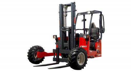 A photo of a Moffett M4 NX truck-mounted forklift