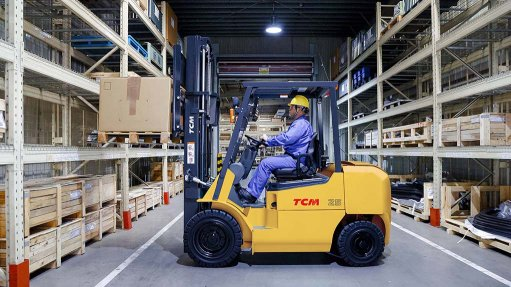 A photo of a TCM T5C internal combustion forklift truck