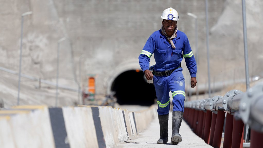 A miner ascends from the Ghaghoo decline shaft