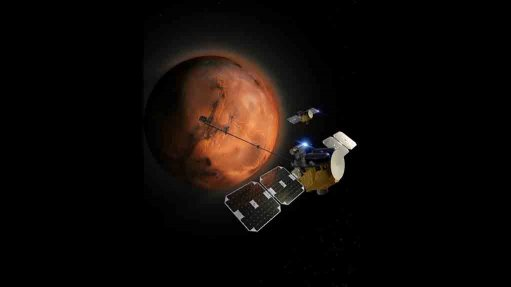 An artist's impression of the two Escapade spacecraft in Martian orbit