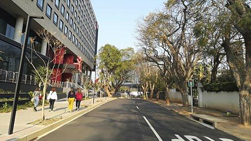 An image of a street view of the Radisson RED Johannesburg Rosebank
