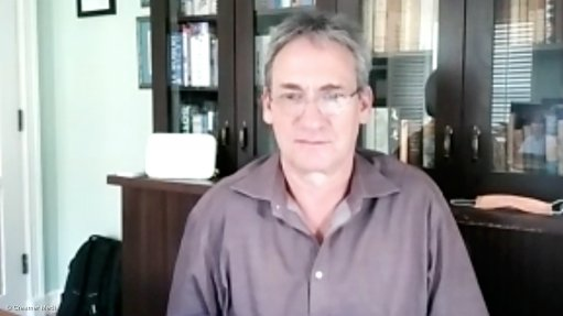 Creamer Media picture of Chris Griffith, CEO of Gold Fields, taken during a Zoom interview.