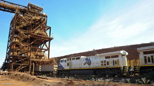 Image shows a train at one of the Fortescue iron ore operations