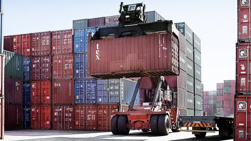 Image of container at a port