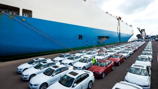 Image of cars being exported from Durban harbour