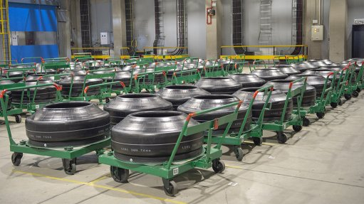 A photo of tyre stock inside Sumitomo Rubber South Africa's Ladysmith plant in KwaZulu-Natal