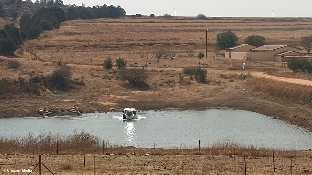 An image of a Sherp vehicle operating in water