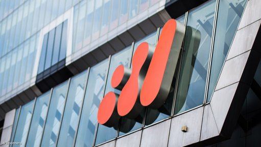 Image shows the BHP logo on the side of its head office