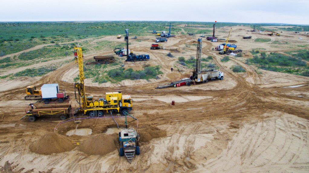 An image of drill rigs exploring for uranium