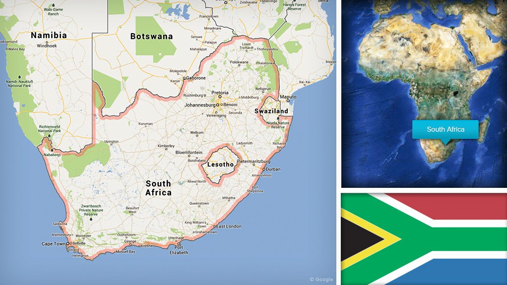 Image of South Africa flag and map