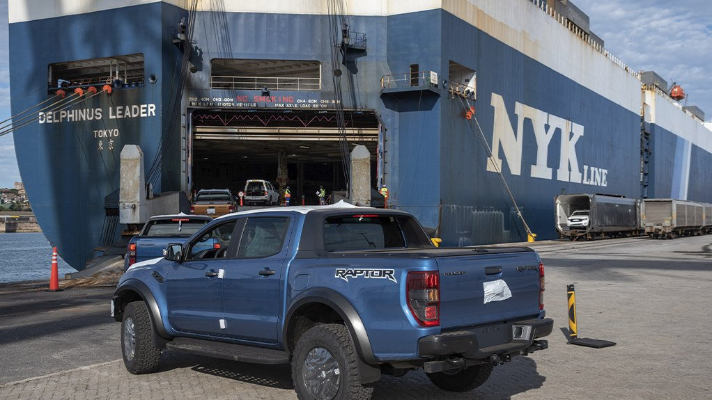 Image of a Ford Ranger being exported from South Africa
