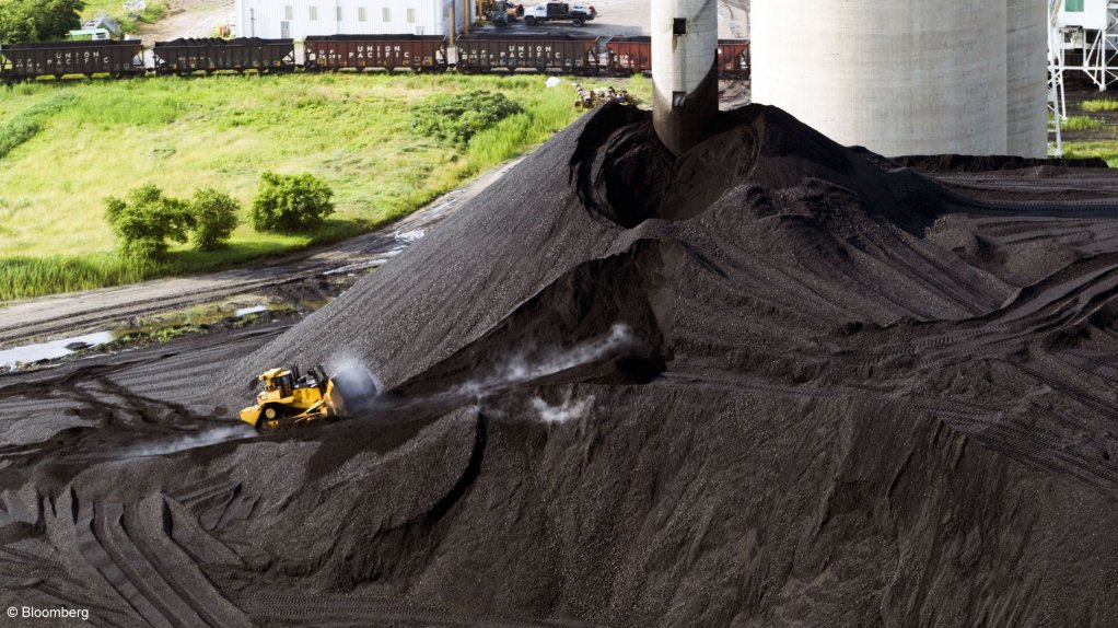 An image of a stockpile of coal