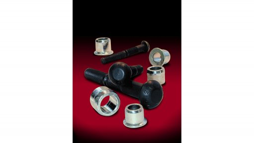 BMG lock bolt pins and collars on a black and red background