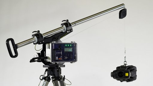 A photo of the fully assembled Zenith robotic inspection device including camera, controller and tripod