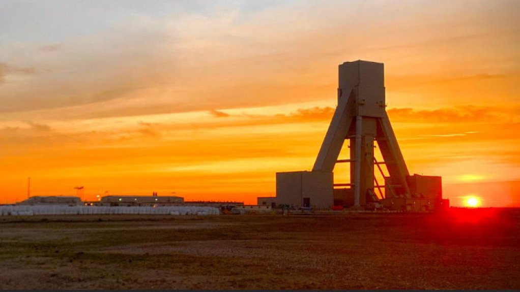 An image of a shaft with the setting sun