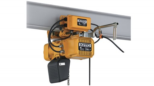 A Kito 1 t electric chain hoist, an orange hoist on rail a rail, supplied to a mill in North West province by Becker Mining South Africa,