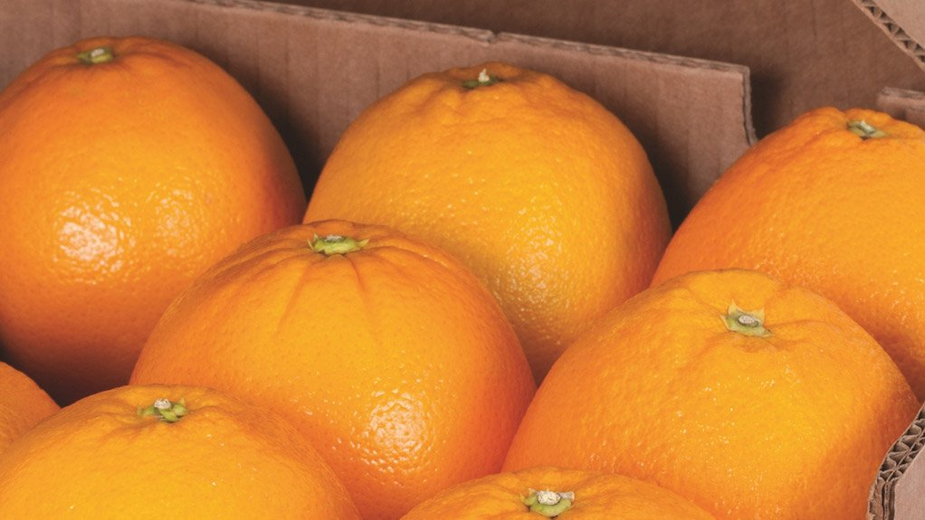 A photo of a box of oranges