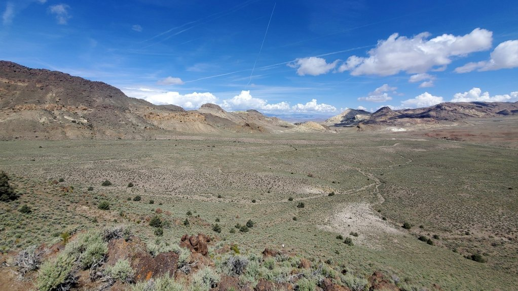 An image of the landscape at Rhyolite Ridge, Nevada