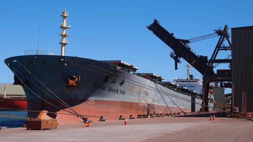 Image shows iron-ore export vessel