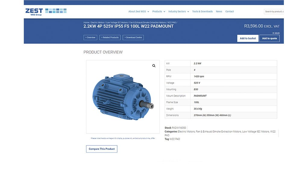 A screenshot of a product added to the basket on the Zest WEG E-Commerce facility.