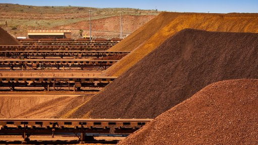 An image of iron-ore piles.