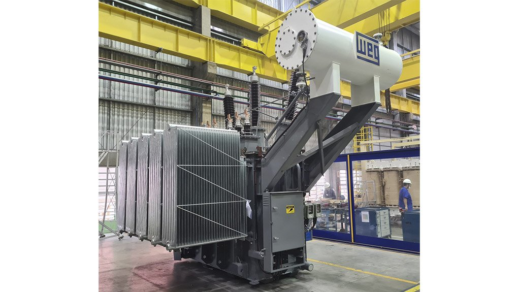 One of the eight WEG 6MVA traction transformers for new substations serving rail lines