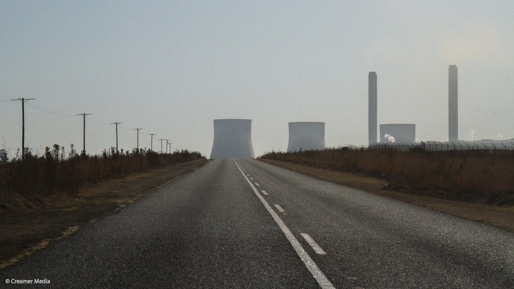 A road to an Eskom power station