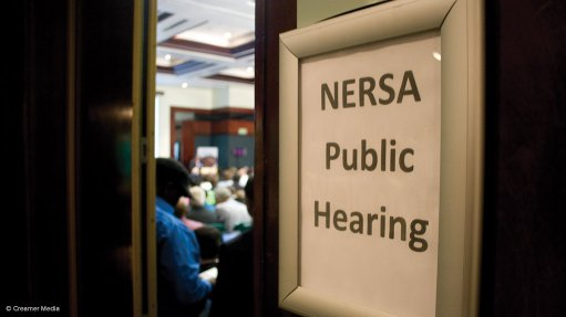 A sign on the door of a Nersa public hearing