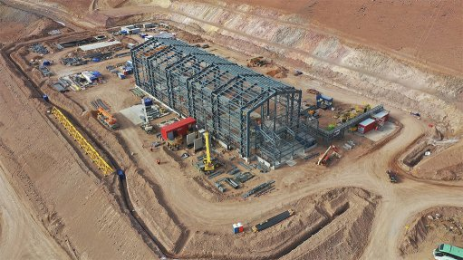 A photo of the integrated automation and power system being installed at the Salares Norte mine in Chile