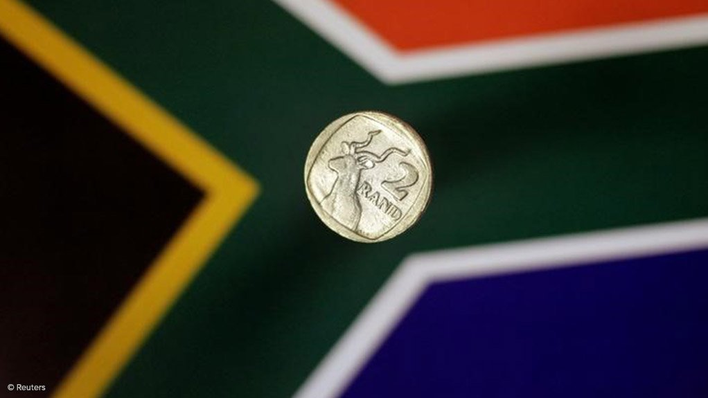 South African Rand against the flag