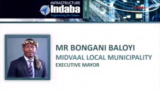 An image of Midvaal Local Municipality executive mayor Bongani Baloyi during a webinar presentation