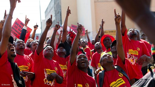 Marching Numsa workers