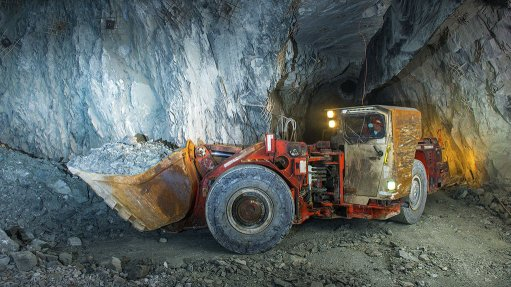 Mining equipment in a gold mine tunnel