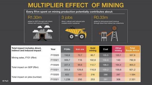 Creamer Media screenshots and design of elements presented at PwC SA Mine 2021