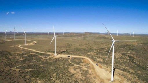aerial shot of Noupoort wind farm