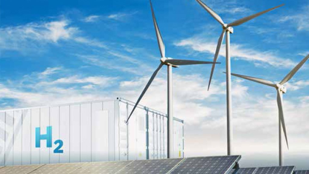 Image shows a hydrogen storage tank and wind turbines