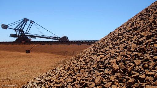 A photo of an iron-ore stockpile